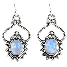 4.02cts natural rainbow moonstone 925 sterling silver dangle earrings r54078