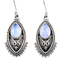 4.52cts natural rainbow moonstone 925 sterling silver dangle earrings r54173