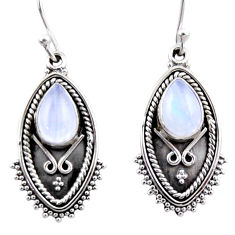 4.52cts natural rainbow moonstone 925 sterling silver dangle earrings r54174