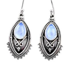 4.72cts natural rainbow moonstone 925 sterling silver dangle earrings r54176