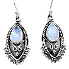 4.69cts natural rainbow moonstone 925 sterling silver dangle earrings r54177