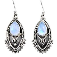4.75cts natural rainbow moonstone 925 sterling silver dangle earrings r54178