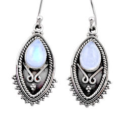 4.75cts natural rainbow moonstone 925 sterling silver dangle earrings r54180