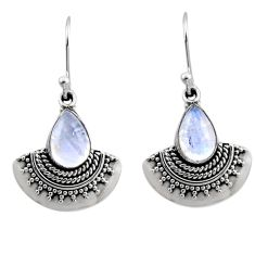 4.69cts natural rainbow moonstone 925 sterling silver dangle earrings r54189