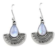 4.71cts natural rainbow moonstone 925 sterling silver dangle earrings r54190