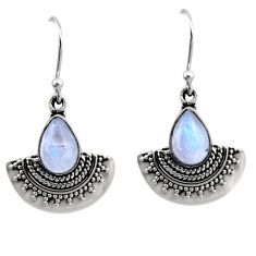 4.69cts natural rainbow moonstone 925 sterling silver dangle earrings r54193
