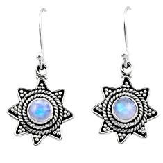 0.97cts natural rainbow moonstone 925 sterling silver dangle earrings r54216