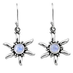 0.97cts natural rainbow moonstone 925 sterling silver dangle earrings r54234