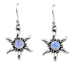 0.91cts natural rainbow moonstone 925 sterling silver dangle earrings r54235