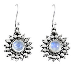 2.72cts natural rainbow moonstone 925 sterling silver dangle earrings r55167