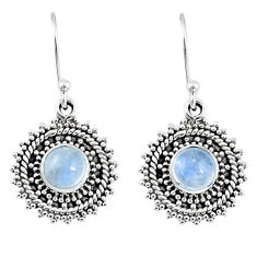 1.94cts natural rainbow moonstone 925 sterling silver dangle earrings r55214