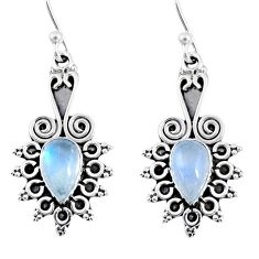 3.83cts natural rainbow moonstone 925 sterling silver dangle earrings r55215