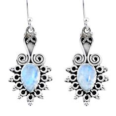 4.02cts natural rainbow moonstone 925 sterling silver dangle earrings r55218