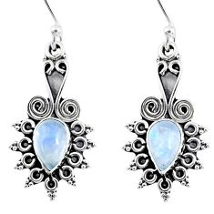 3.83cts natural rainbow moonstone 925 sterling silver dangle earrings r55219