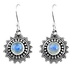 2.32cts natural rainbow moonstone 925 sterling silver dangle earrings r55237