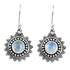 2.33cts natural rainbow moonstone 925 sterling silver dangle earrings r55238