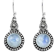 5.11cts natural rainbow moonstone 925 sterling silver dangle earrings r55257