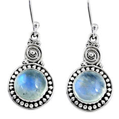 5.11cts natural rainbow moonstone 925 sterling silver dangle earrings r55259