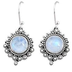 4.90cts natural rainbow moonstone 925 sterling silver dangle earrings r55273