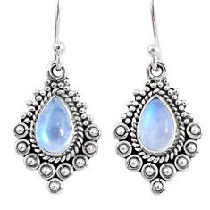 4.06cts natural rainbow moonstone 925 sterling silver dangle earrings r55277