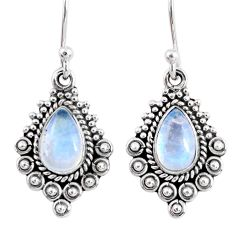 3.80cts natural rainbow moonstone 925 sterling silver dangle earrings r55279