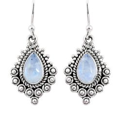 4.08cts natural rainbow moonstone 925 sterling silver dangle earrings r55280