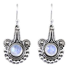 2.97cts natural rainbow moonstone 925 sterling silver dangle earrings r55294
