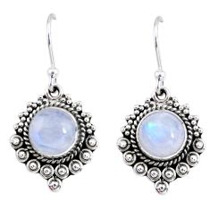 5.16cts natural rainbow moonstone 925 sterling silver dangle earrings r55297