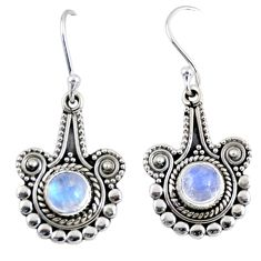 2.69cts natural rainbow moonstone 925 sterling silver dangle earrings r55298