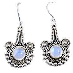 2.55cts natural rainbow moonstone 925 sterling silver dangle earrings r55299