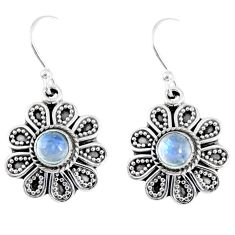 1.81cts natural rainbow moonstone 925 sterling silver dangle earrings r55353