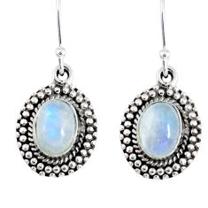 4.44cts natural rainbow moonstone 925 sterling silver dangle earrings r55354