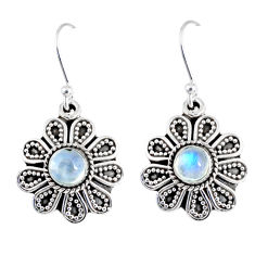 1.81cts natural rainbow moonstone 925 sterling silver dangle earrings r55355