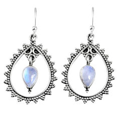 4.23cts natural rainbow moonstone 925 sterling silver dangle earrings r59676