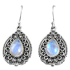 5.52cts natural rainbow moonstone 925 sterling silver dangle earrings r59756