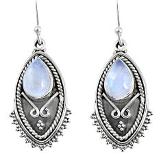 4.53cts natural rainbow moonstone 925 sterling silver dangle earrings r59839