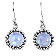 5.09cts natural rainbow moonstone 925 sterling silver dangle earrings r60497