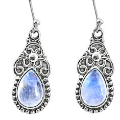 6.02cts natural rainbow moonstone 925 sterling silver dangle earrings r60555