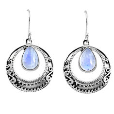5.42cts natural rainbow moonstone 925 sterling silver dangle earrings r60976