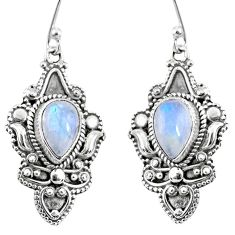 4.70cts natural rainbow moonstone 925 sterling silver dangle earrings r60997