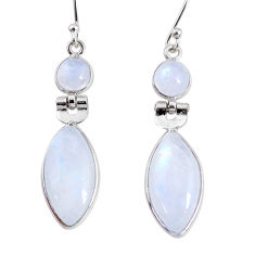 12.07cts natural rainbow moonstone 925 sterling silver dangle earrings r63989