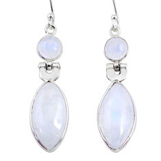 11.73cts natural rainbow moonstone 925 sterling silver dangle earrings r64002