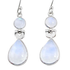 11.17cts natural rainbow moonstone 925 sterling silver dangle earrings r64004