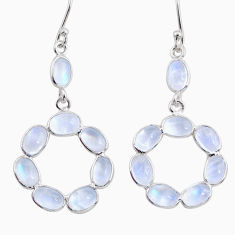 11.22cts natural rainbow moonstone 925 sterling silver dangle earrings r64025