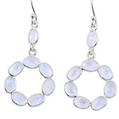 11.22cts natural rainbow moonstone 925 sterling silver dangle earrings r64028