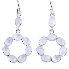 11.69cts natural rainbow moonstone 925 sterling silver dangle earrings r64035