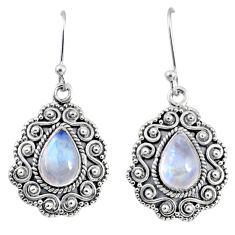 4.89cts natural rainbow moonstone 925 sterling silver dangle earrings r64107