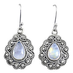 5.09cts natural rainbow moonstone 925 sterling silver dangle earrings r64109
