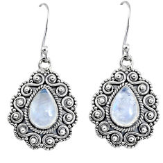 5.06cts natural rainbow moonstone 925 sterling silver dangle earrings r64119