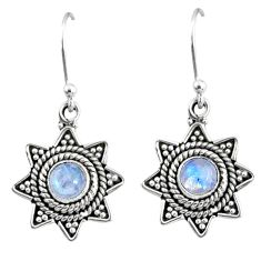 2.67cts natural rainbow moonstone 925 sterling silver dangle earrings r65113
